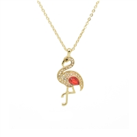 Pink Crystal Flamingo Necklace in Antique Gold - LN100P