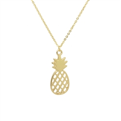 Cut-Out Pineapple Necklace in Gold - LN101G