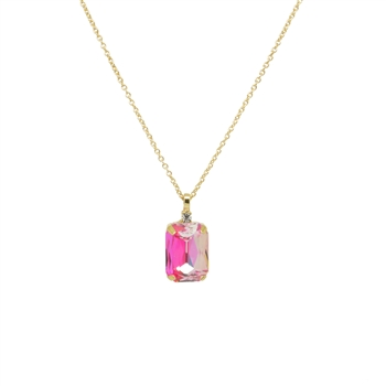 Multi Pinks Gem with Tiny Crystal Necklace in Gold - LNR06P