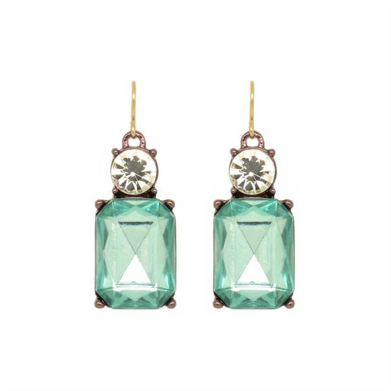Simple Green Gem Earrings Lte08g Larger Photo Email A Friend