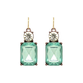 Simple Green Gem Earrings - LTE08G