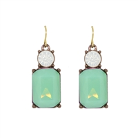 Mint Gem with Clear Crystal Earrings - LTE08M