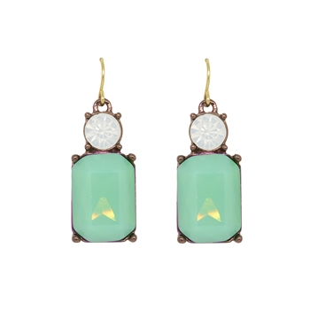 Mint Gem with Opal Crystal Earrings - LTE08M