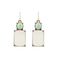 White Opal Gem with Mint Crystal Earrings - LTE08O