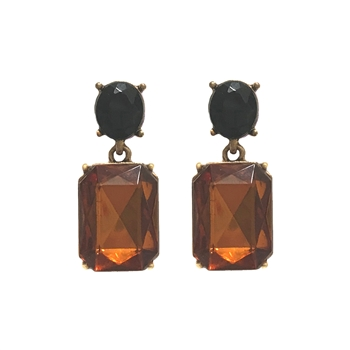 Warm Toffee Gem with Black Crystal Earrings - LTE09W