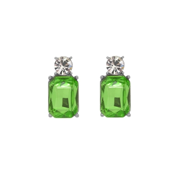 Mini Light Green Gem Earrings - LTE10L