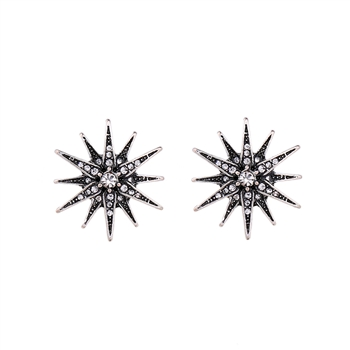 Crystal Star Earrings in Antique Silver - LTE18S