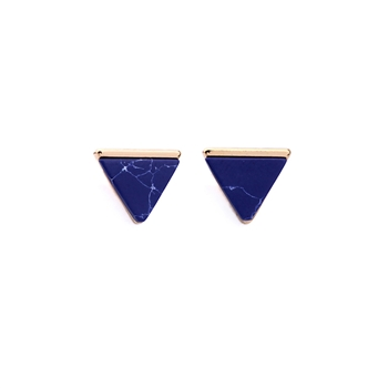 Blue Marble Effect Pyramid Earrings in Antique Gold - LTE76B