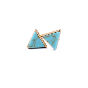 Turquoise Marble Effect Pyramid Earrings in Antique Gold - LTE76T