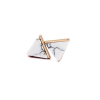 White Marble Effect Pyramid Earrings in Antique Gold - LTE76B