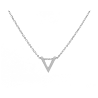 V Necklace in Matt Sterling Silver Plate - NLL05S