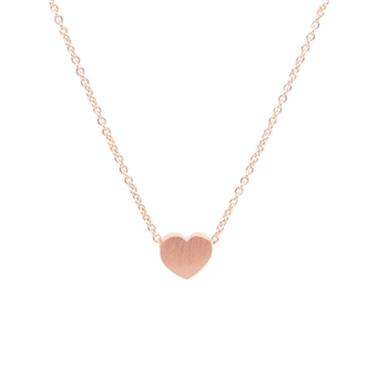 Small Heart Necklace in 20K Matt Rose Gold Plate - NLL08R