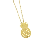 Pineapple Necklace in 20K Matt Gold Plate - NLL26G