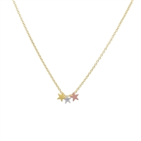 Triple Star Necklace in 20K Matt Gold Plate - NLL33G