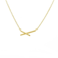 X Necklace in 20K Gold Plate - NLL39G