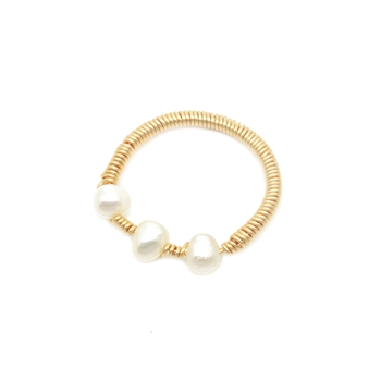 Freshwater Trio Pearl Ring in 18K Gold Plate - RNN02G