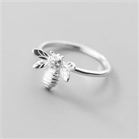 Shiny Bee Ring in Silver in Solid Sterling Silver - RNQ124S