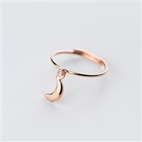 Rose Gold Plated Moon Charm Ring in Solid Sterling Silver - RNQ79R