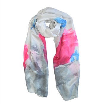 Painted Rose Print Silk-Feel Scarf in Grey with Pink - SCF50G