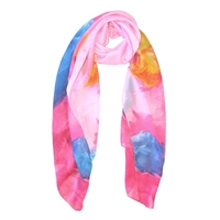 Painted Rose Print Silk-Feel Scarf in Pink with Blue and Yellow - SCF50P