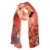 Leaf Print Chiffon Scarf in Orange with Red  - SCQ34O