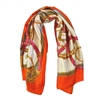 Silk-Feel Stirrup and Basket Print Square Scarf in Orange - SCQ41O