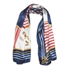 Silk-Feel Sailing Wheel and Anchor Print Square Scarf in Navy - SCQ42N