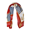 Silk-Feel Sailing Wheel and Anchor Print Square Scarf in Red - SCQ42R