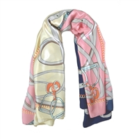 Silk-Feel Stirrup Print Square Scarf in Pink with Cream and Navy - SCQ44P