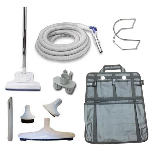 GREY 30 HOSE DELUXE TOOLS CENTRAL VACUUM KIT TELESCOPIC WAND
