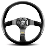 MOMO TUNER STEERING WHEEL: 350mm (BLACK W/ RED STITCHING)