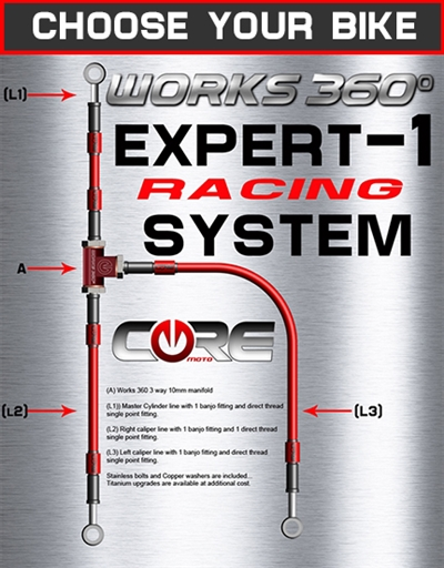 Works 360 Expert-1 front brake line race system (choose bike)