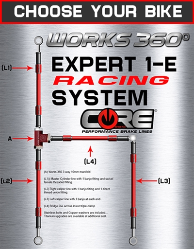 Works 360 Expert-1-E front brake line race system (choose bike)