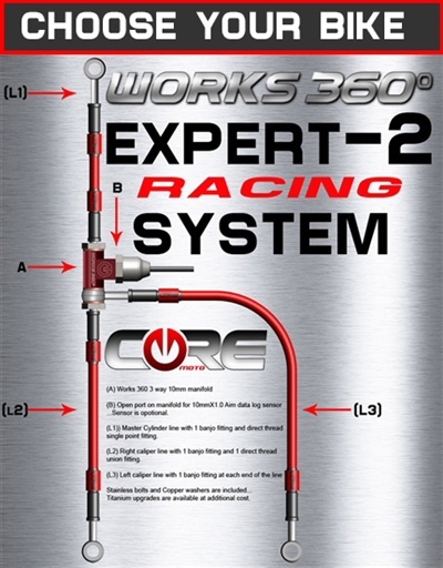 Works 360 Expert-2 front brake line race system (choose bike)