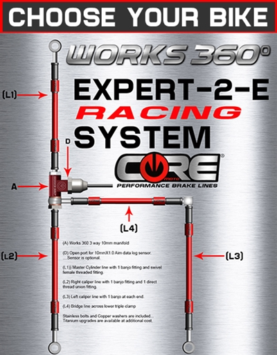Works 360 Expert-2-E front brake line race system (choose bike)
