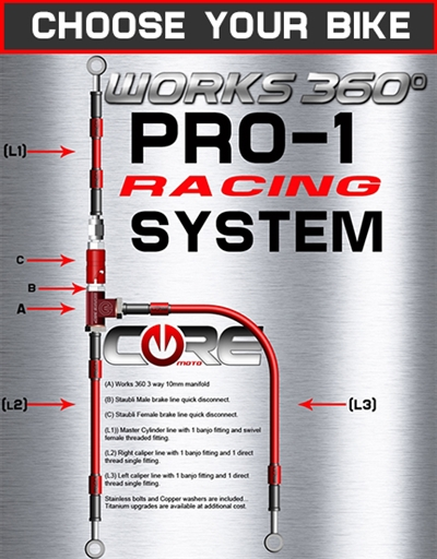Works 360 Pro-1 front brake line race system (choose bike)