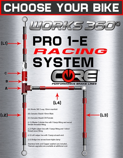 Works 360 Pro-1-E front brake line race system (choose bike)