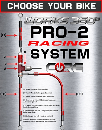 Works 360 Pro-2 front brake line race system (choose bike)