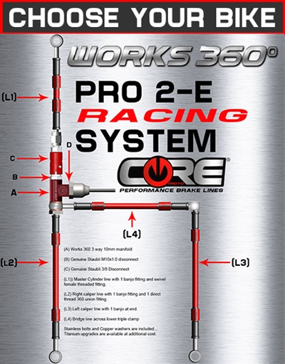Works 360 Pro-2-E front brake line race system (choose bike)