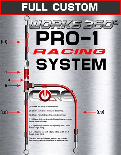 Works 360 Pro-1 front brake line race system
