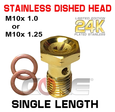 Core Moto 24K gold plated stainless single length bolts