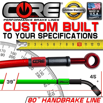 "CORE MOTO STAINLESS STEEL BRAIDED CUSTOM BUILT 80"" HAND BRAKE LINE KIT"