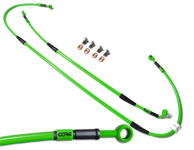 Core Moto steel braided Brake lines Front and Rear kit fit KDX200 1995-2006 | KDX220 1997-2005 | Kawasaki Green
