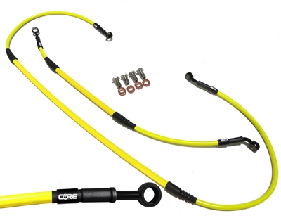 Mx Core Moto front and rear brake line kit fits SUZUKI RM85 (SMALL WHEEL) 2002-2004 yellow and black