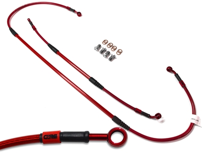 Mx Core Moto front and rear brake line kit fits HONDA XR600R 1991-2000 translucent red