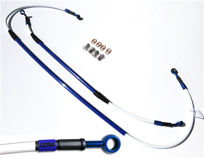 Mx Core Moto front and rear brake line kit fits SUZUKI DR-Z400SM 2005-2016 SUPERMOTO WHITE AND BLUE