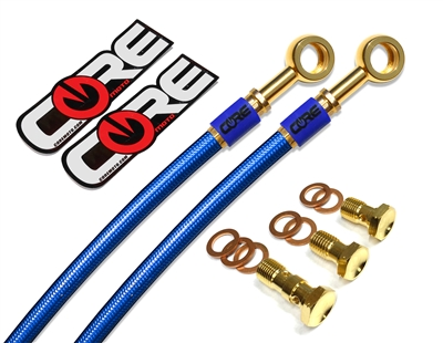 Honda CBR500R non ABS 2013-2015 Front and rear brake line kit translucent blue lines 24k gold plated kit