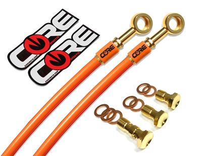 Kawasaki EX250R 1988-2007 Front and rear brake line kit ktm orange lines 24k gold plated kit