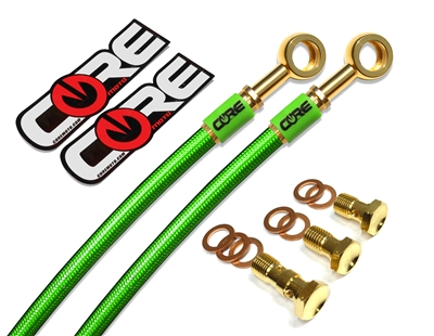 Kawasaki EX250R 1988-2007 Front and rear brake line kit Translucent Green lines 24k gold plated kit