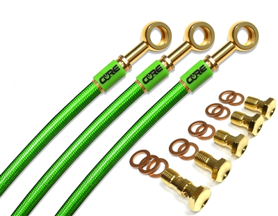 Kawasaki Z1000 ABS 2010-2011 Front and rear brake line kit Translucent Green lines 24k gold plated kit